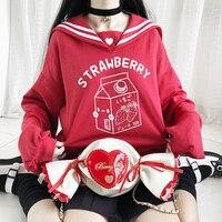 Kawaii Strawberry Milk Bandage Bowknot Women Street Navy Sweatshirt Harajuku Japanese Lolita Sailor Collar Hoodies Autumn 2019