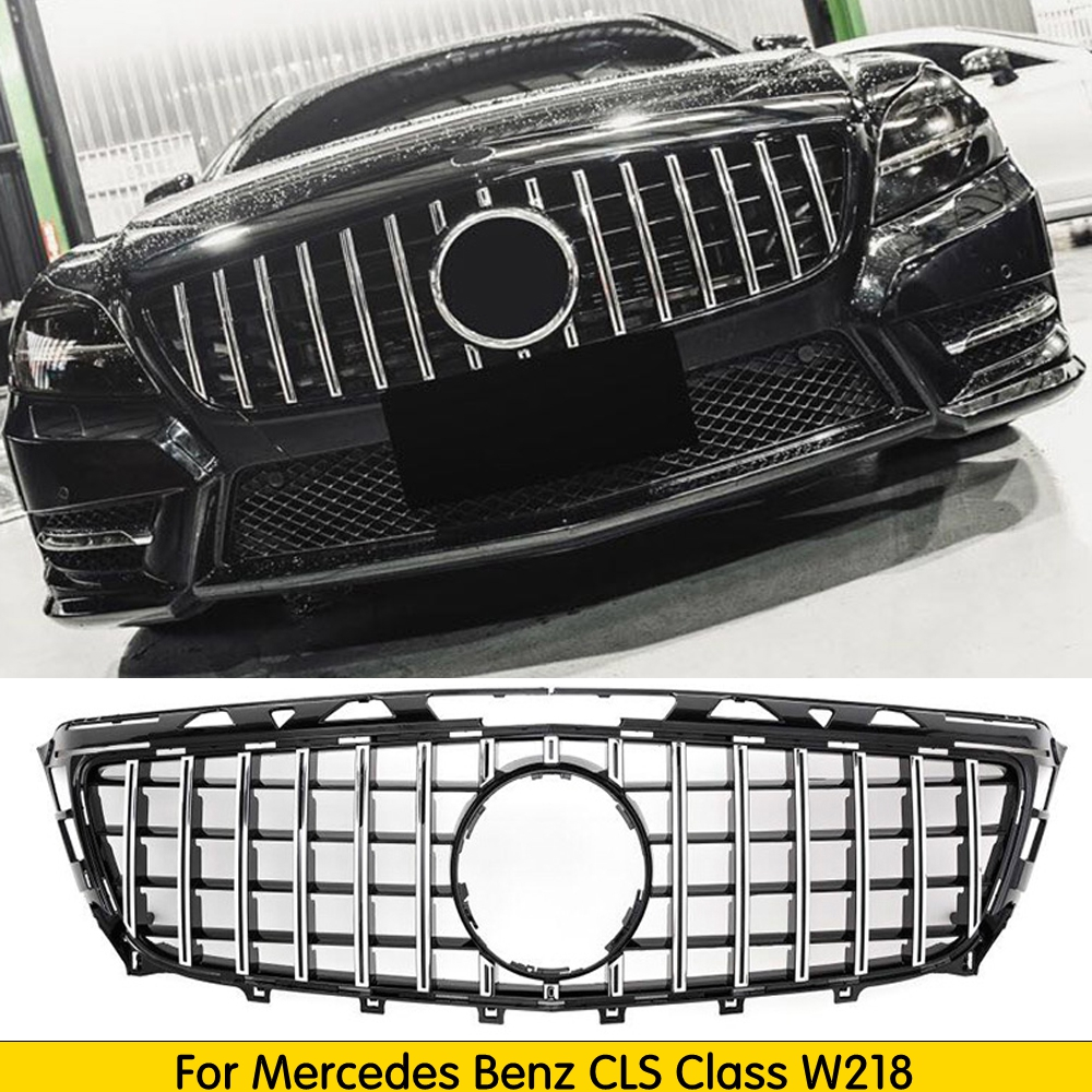For <font><b>W218</b></font> GT <font><b>grille</b></font> GTR <font><b>grille</b></font> for Mercedes Benz CLS Class 2011-2014 Replacement mesh car accessories front bumper without emblem image
