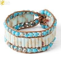 CSJA богемные винтажные кожаные браслеты в форме трубки синие императорские Бусы Плетеный браслет для женщин Boho ювелирные изделия ручной раб...