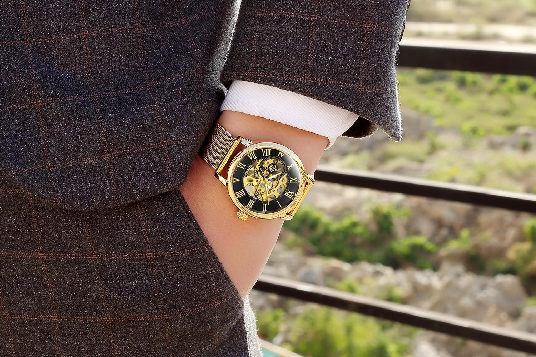 H8e1b5939e9c64de78b913abc3482a495K Coupons Sale Men Watches Mechanical Hand Wind Luxury Top Brand ORKINA Skeleton Stainless Steel Bracelet Mesh Strap Men's Watches