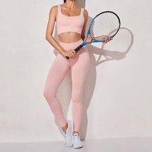 Бесшовный комплект для йоги женская одежда спортзала бар и леггинсы