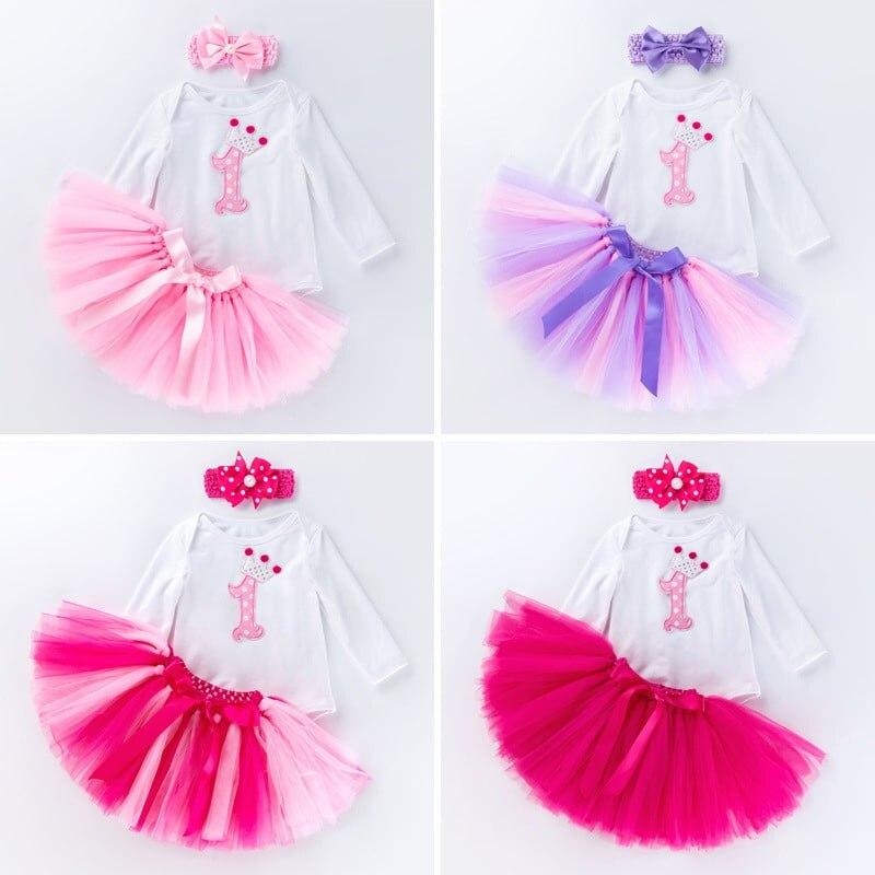 3 pçs conjunto de roupa do bebê meninas manga longa um ano de idade rendas tutu bodysuit saia com bandana 1 ano roupas da menina do bebê