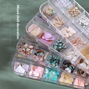 12-color mixed nail shell pieces jewelry Long thin box mixed thin abalone pieces Mixed shell decoration 15 options