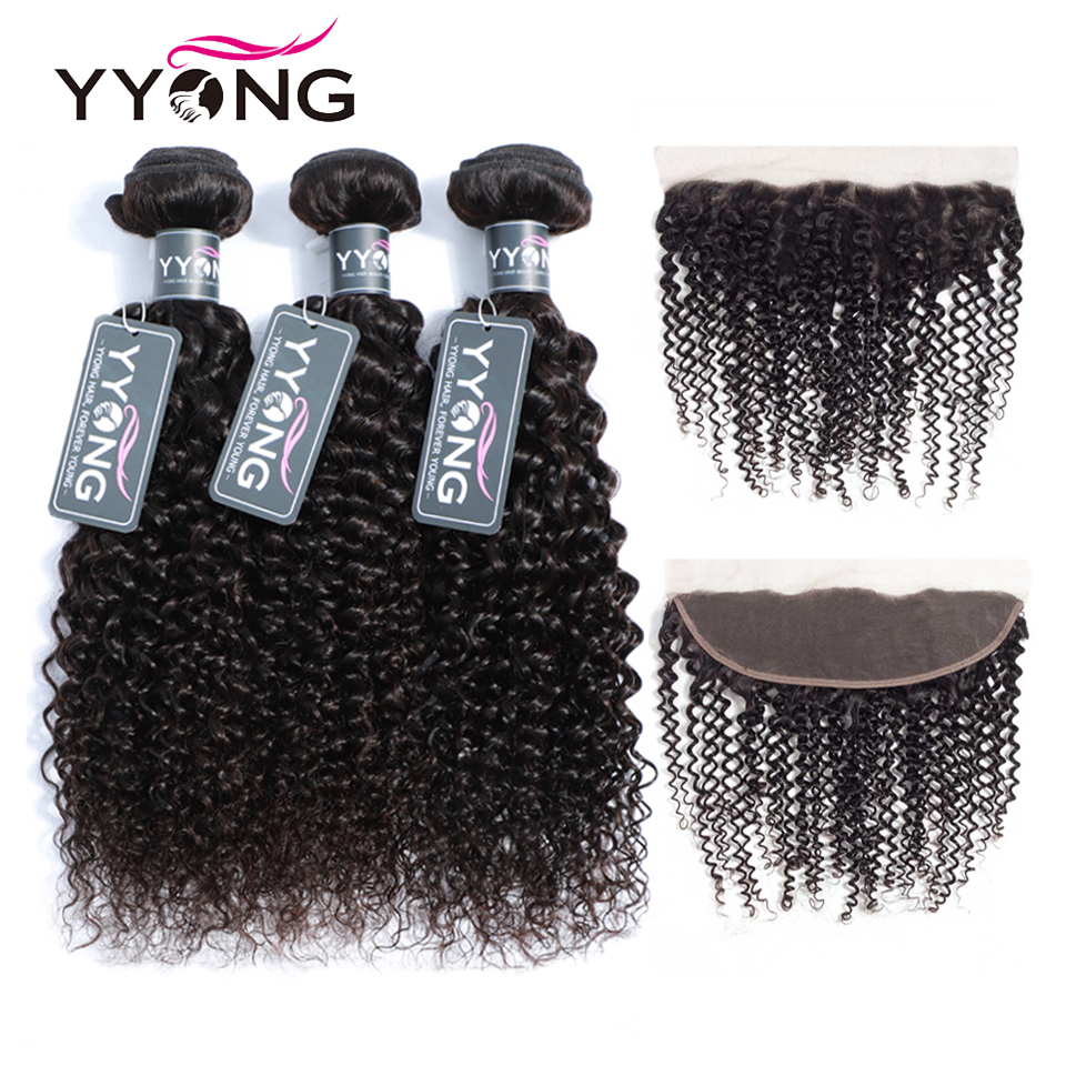 YYong  3/ 4 Kinky Curly Bundles With Frontal Pre Plucked 13x4 Ear To Ear Lace Frontal Closure With Bundles  1