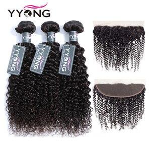 Yyong brasileiro 3/ 4 kinky curly pacotes com frontal pré arrancado 13x4 orelha a orelha fechamento frontal do laço com pacotes remy