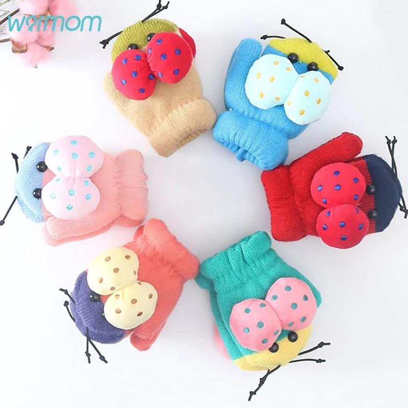 Cartoon Baby Kids Boys Girls Plus Velvet Thick Kids Gloves Knitting Mittens