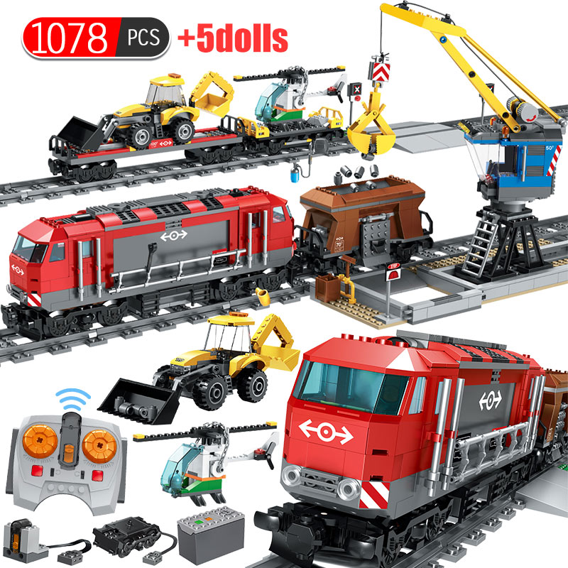 1078PCS RC Train Building Blocks Compatible Technic Railway City Track Train Helicopter Cars Station Kids Bricks Toys