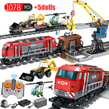 1078PCS RC Train Building Blocks Compatible Legoed Technic Railway City Track Train Helicopter Cars Station Kids Bricks Toys