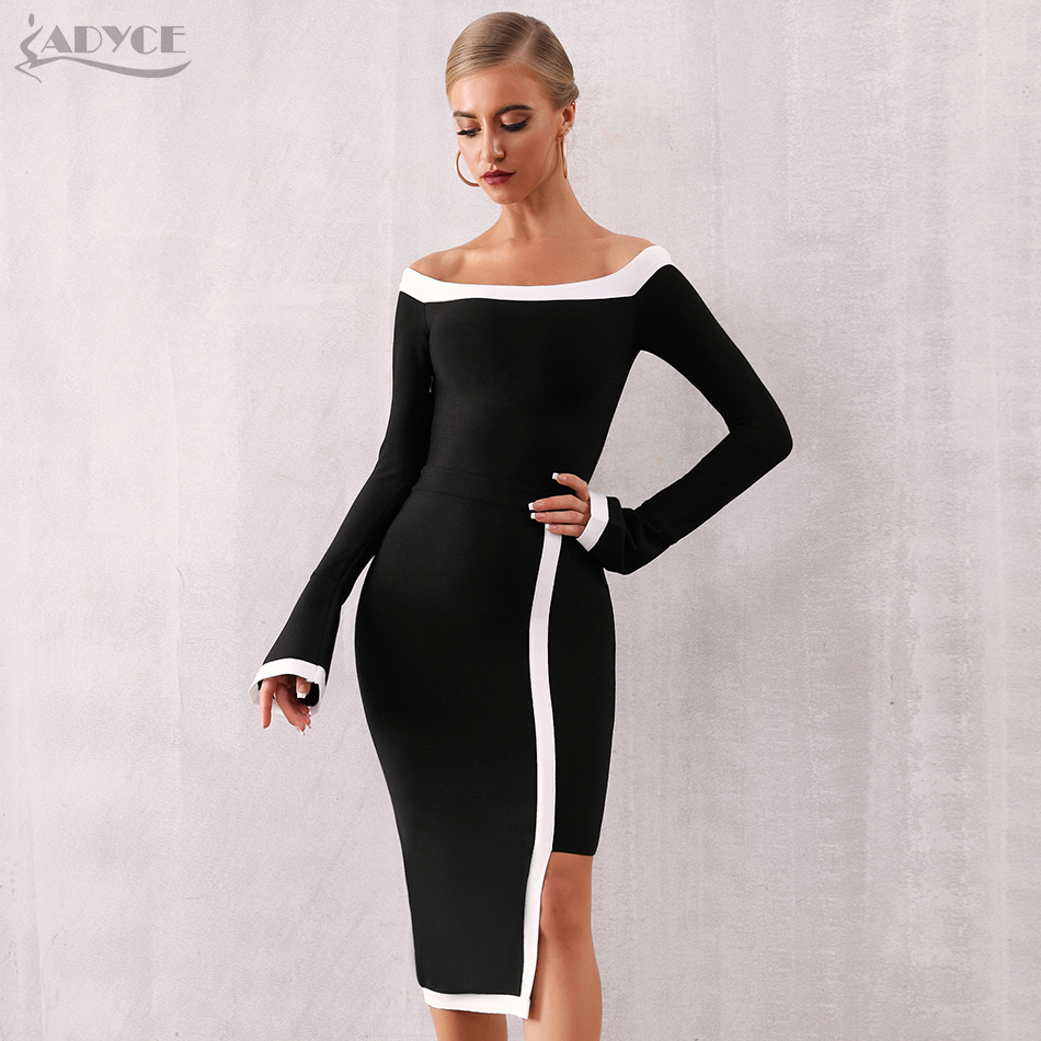 Adyce 2020 New Winter Long Sleeve Bandage Dress Women Vestidos Sexy Slash Neck Off Shoulder Club Celebrity Evening Party Dresses