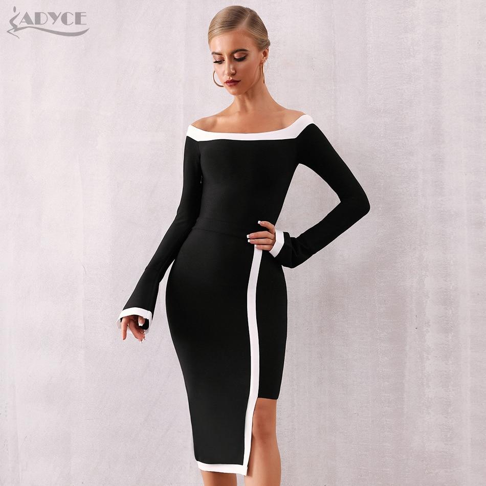Adyce 2020 New Winter Long Sleeve Bandage Dress Women Vestidos Sexy Slash Neck Off Shoulder Club Celebrity Evening Party Dresses