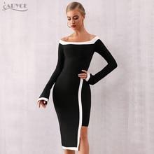 Adyce 2020 New Winter Long Sleeve Bandage Dress Women Vestidos Sexy Slash Neck O