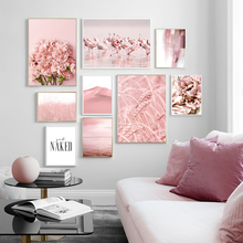 Pink Sea Flamingo Dune Rice Flower Quotes Wall Art Canvas Painting Nordic Posters And Prints Wall Pictures For Living Room Decor fashion perfume flower quotes wall art canvas painting nordic posters and prints wall pictures for living room girl salon decor
