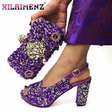Olgun tarzı mor renk afrika kadınlar Shoeos ve çanta maç Slingback sandalet Shinning kristal noel partisi için
