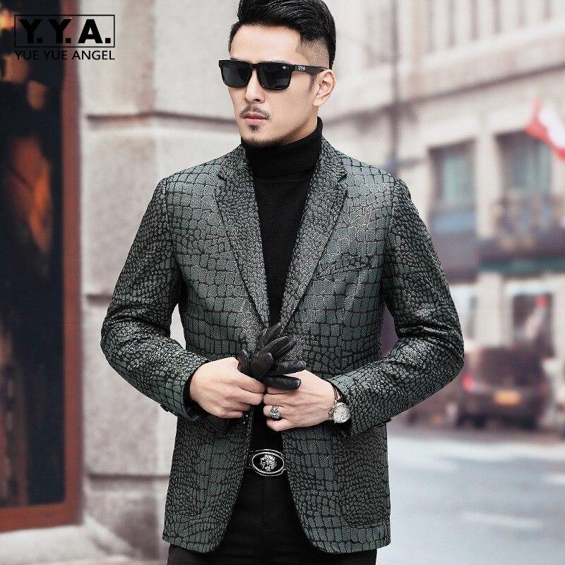 Nouveau modèle de Crocodile pour hommes veste en peau de mouton véritable coupe ajustée homme d'affaires Blazer costume simple boutonnage veste en cuir véritable 4XL