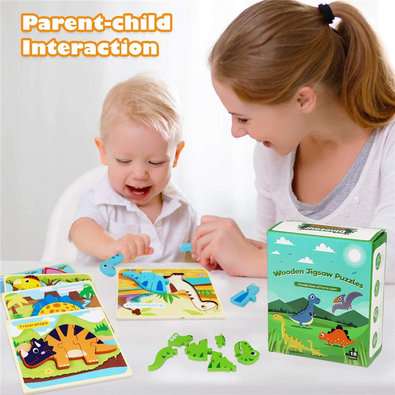 Дети животных головоломка Монтессори 3D двухсторонняя, с узором в полоску деревянные головоломки игрушки рассказать историю Развивающие деревянные головоломки для детей 5