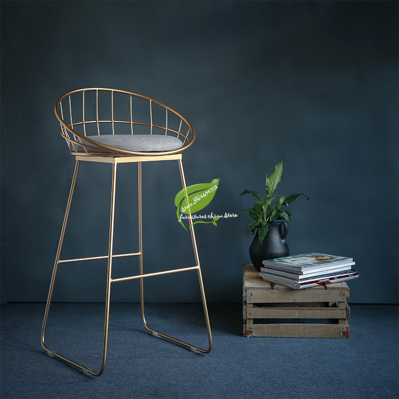 Golden Stool Bar Chari Simple Bar Stool Wrought Iron Bar Chair Gold High Stool Modern Dining Chair Nordic Pub Accessories