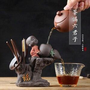 Kung Fu Tea Set Tea Ceremony Little monk Tea Accessories Set Utensils Clip Needle Ceramic Cans Tea Scoop Strainers Six Gentleman