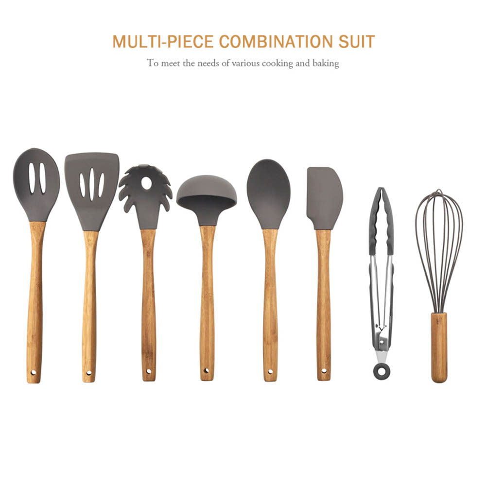 9Pcs Kitchen Nonstick Silicone Kitchenware Utensils Set Bamboo Handle Spatula Food Clip Egg Beater Cooking Utensil Set Organizer in Cooking Tool Sets from Home Garden