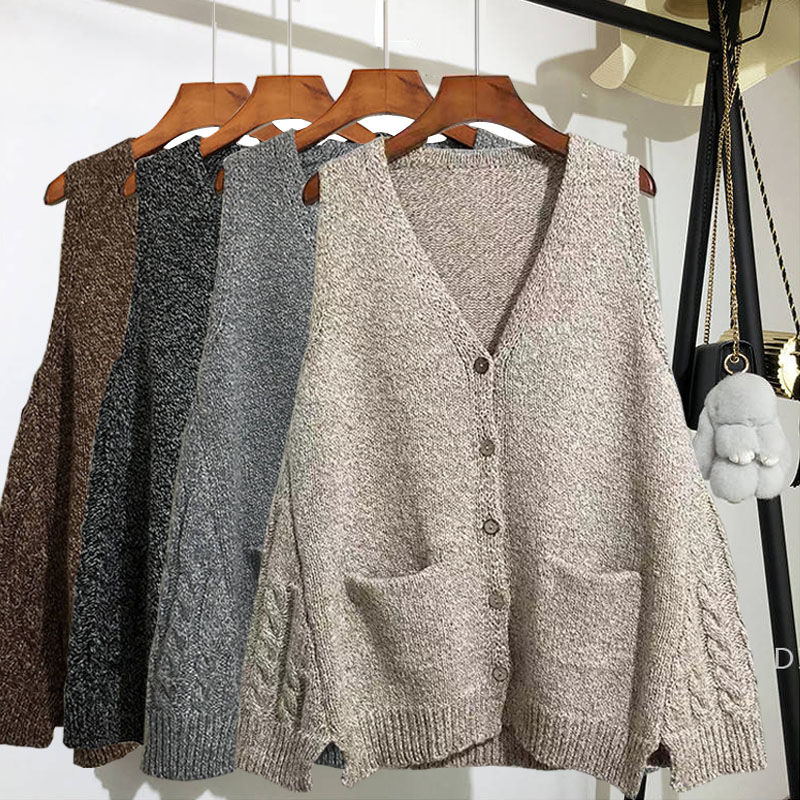 Woherb Sweater Women V Neck Sleeveless Cardigan Solid Loose Knitted Tops Tops Vintage Fashion Korean Knitwear Outwear 90916