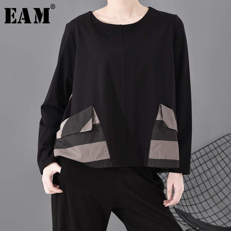 [EAM] Women Black Striped Pocket Split Joint Temperament T-shirt New Round Neck Long Sleeve  Fashion Spring Autumn 2020 1S689
