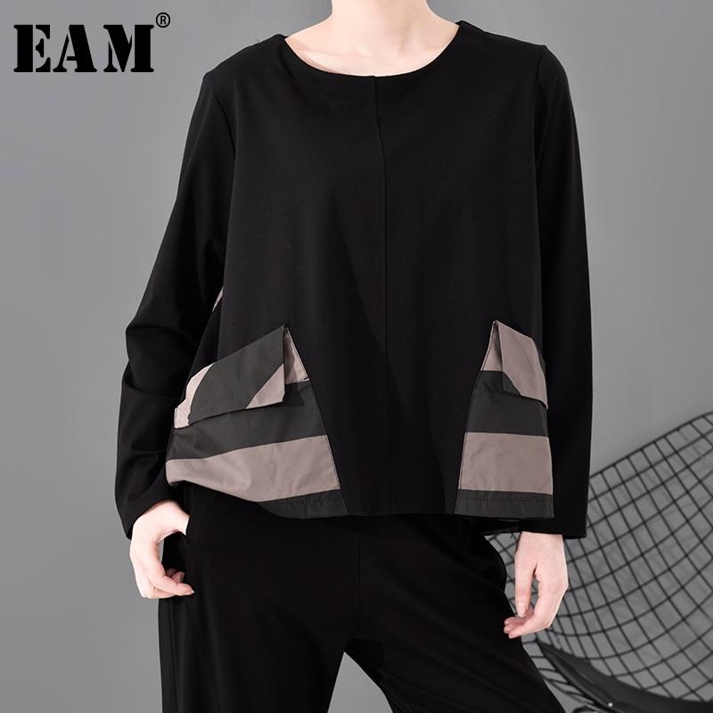 [EAM] Women Black Striped Pocket Split Joint Temperament T-shirt New Round Neck Long Sleeve  Fashion Spring Autumn 2020 1S689