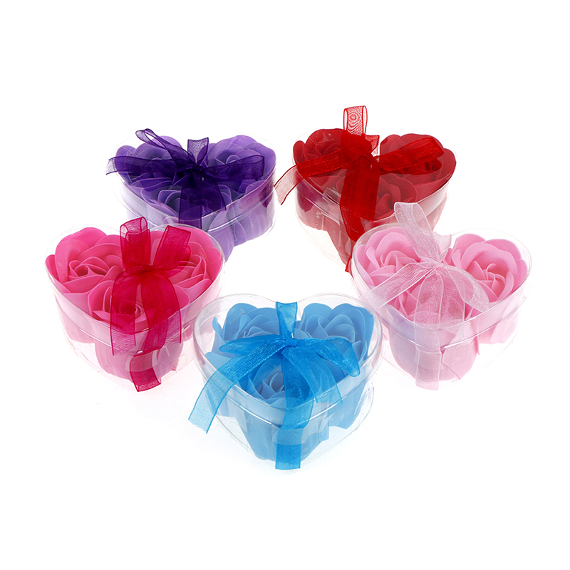 3Pcs/pack Wedding Decoration Heart Scented Bath Body Petal Rose Flower Soap Gift Best