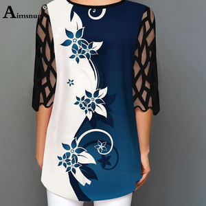 Image 5 - O neck Hollow out Sleeve Tops Single breasted Tee Shirt Plus size Female T Shirt Loose Ladies5x 2020 WomenPrint Button Blue