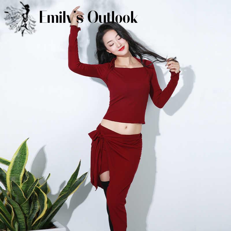 Одежда для танца живота, теплая модальный длинный рукав, короткая юбка для восточных танцев, Осень-зима 2020
