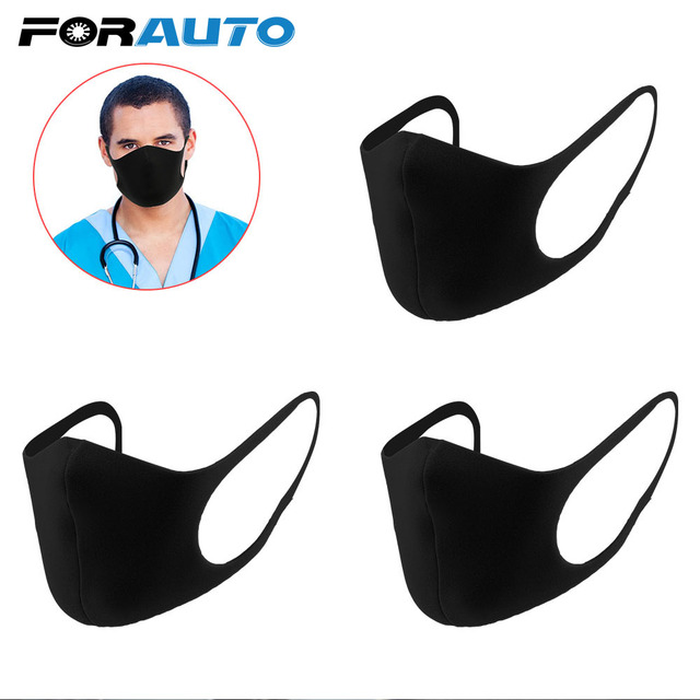 FORAUTO 3pcs/pack Anti Haze Dust Mouth Face Mask Black Anti Carbon Masks Unisex Mouth Muffle Sponge Mouth Mask Washable Reusable