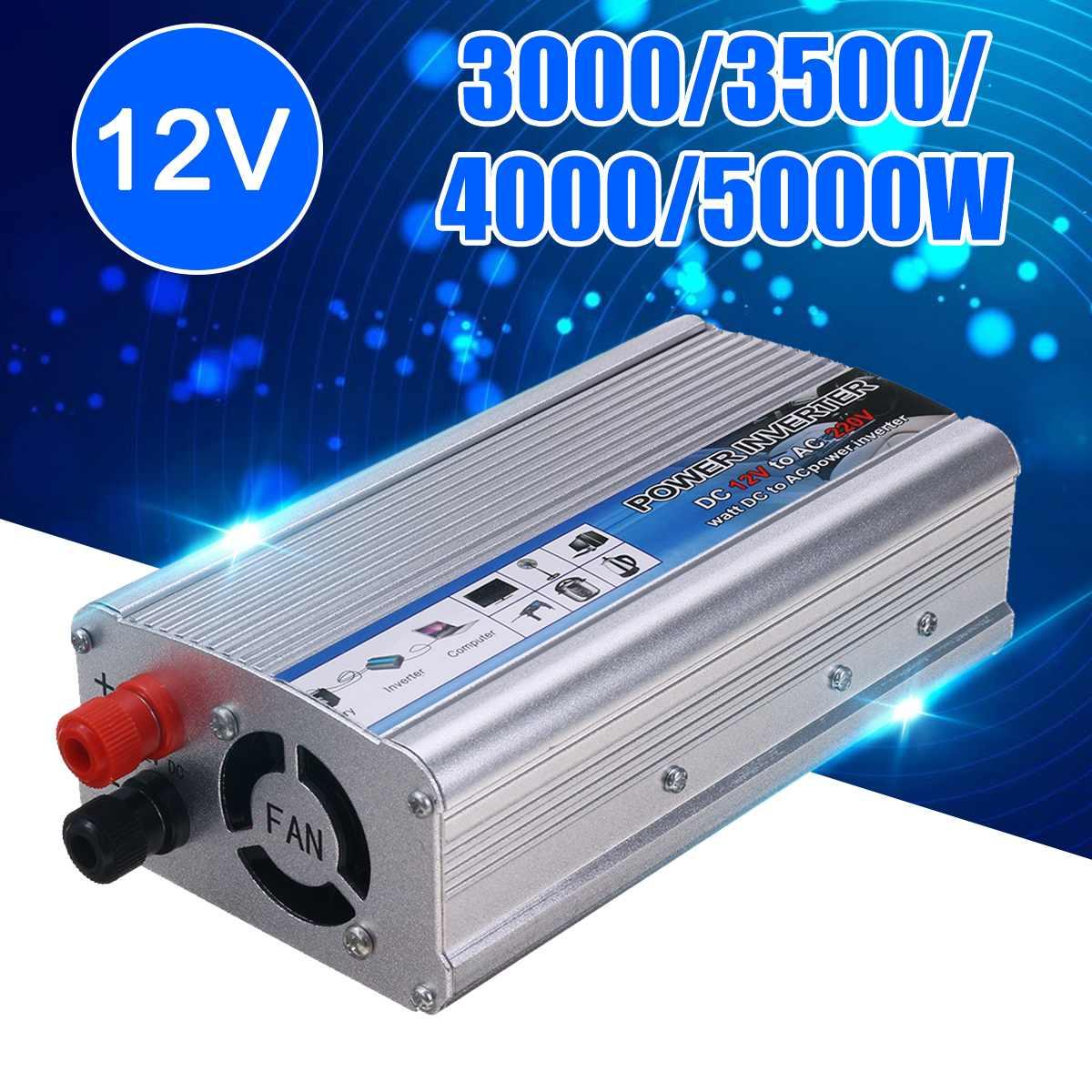 Hot 5000W-3000 Watt Solar Power Inverter DC 12V To AC 220V USB Modified Sine Wave Converter Car Power Inverter Charger Adapter