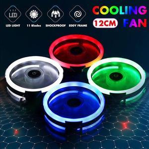 120mm Cooling Fan PC Computer Fan Quad 4 LED Light PC Computer Case Cooling Fan Mod Quiet Molex Connector Easy Installed Fan 12V(China)