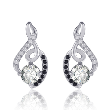 Huitan Delicate Type 8 Women Stud Earring with White & Black CZ Stone Daily Wear Dance Party Wedding Engage Girl Stylish Jewelry 2