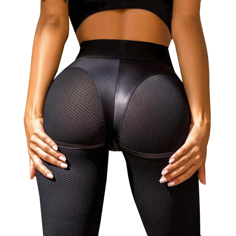 NORMOV Women Sexy Leather Short Leggings Mid Waist Mesh Push Up Workout Leggings Female Slim Patchwork Exercise Trousers Legging