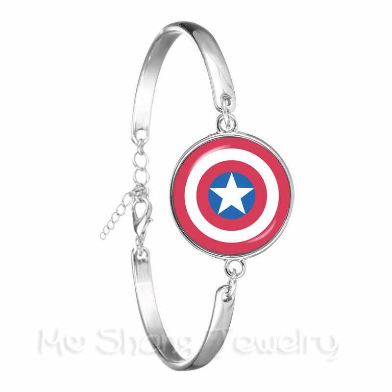 Bracelet homme Avengers Captain America Thor et fer dôme de verre LOGO de bande dessinée Bracelet cadeau personnalisé pour amoureux de bande dessinée