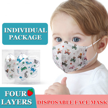 10-100PCS Children 3D Disposable Face Mask Independent Packaging Four Layers Breathable Anti-dust Face Mouth Mask Cartoon Masks 1