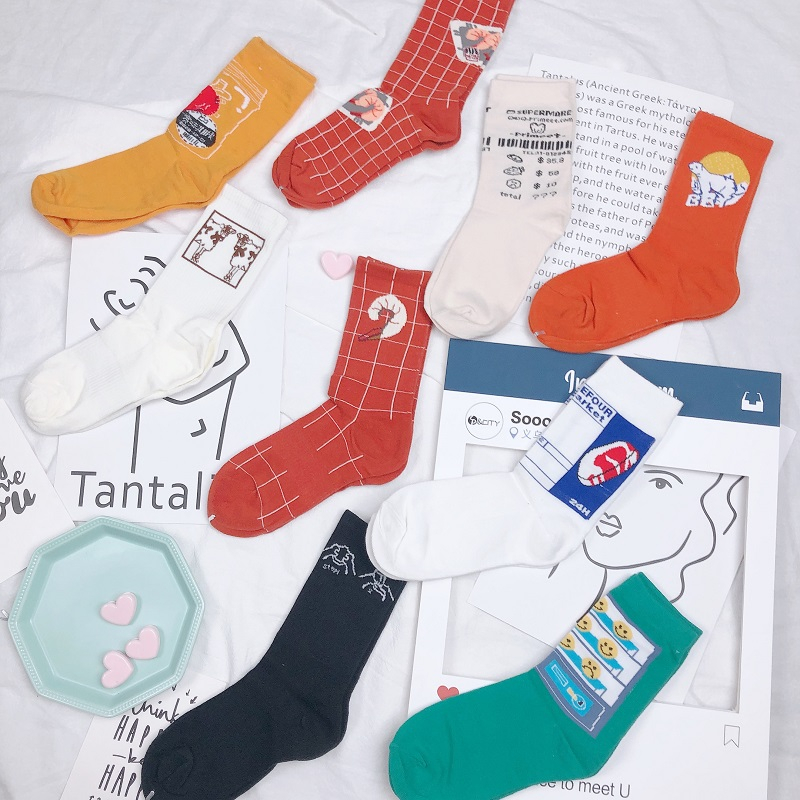 Women Lunch Food Patterned Funny Socks Cotton Vintage Cartoon Casual Ankle Socks For Female Solid Original Breathable Sox