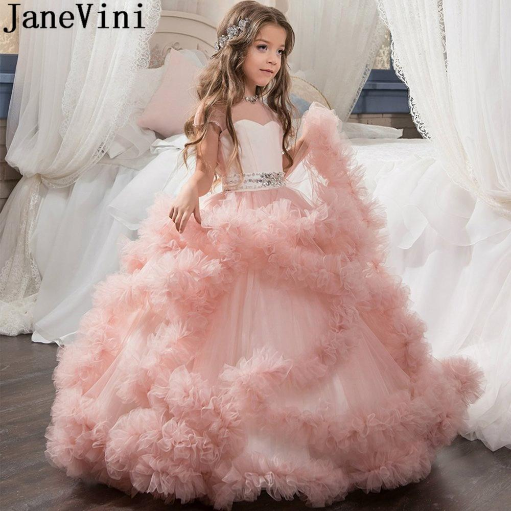 JaneVini Real Photos Crystal   Flower     Girl     Dresses   Luxury   Girls   Wedding Wear Ball Gown Bow Communion   Dress   Tulle Kids Formal Gown