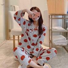 Пижама весна осень с отложным воротником белье карманом топ