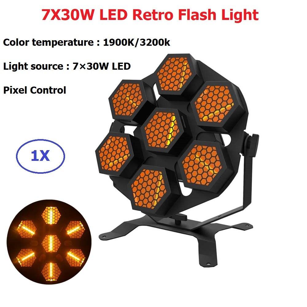 Strobe Effect LED Stage Light 7X30W Retro Flash Light Dj Disco Ball Lumiere Sound Party Wedding Stage Light Wash Effect Lighting