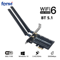 Fenvi inalámbrico AX3000 Wi-Fi 6 3000Mbps PCIe para Bluetooth 5,1 WiFi adaptador Intel AX200 tarjeta Wi-Fi 802 11AX AC/AC 2,4G/5Ghz Escritorio