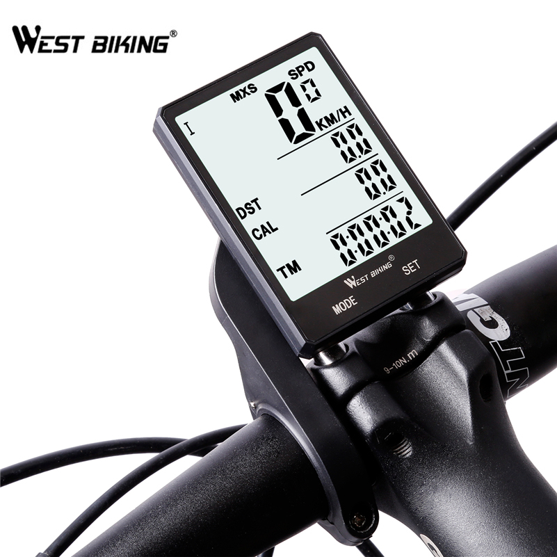 WEST BIKING Waterproof Bicycle Computer With Backlight Wireless Wired Bicycle Computer Bike Speedometer Odometer Bike Stopwatch