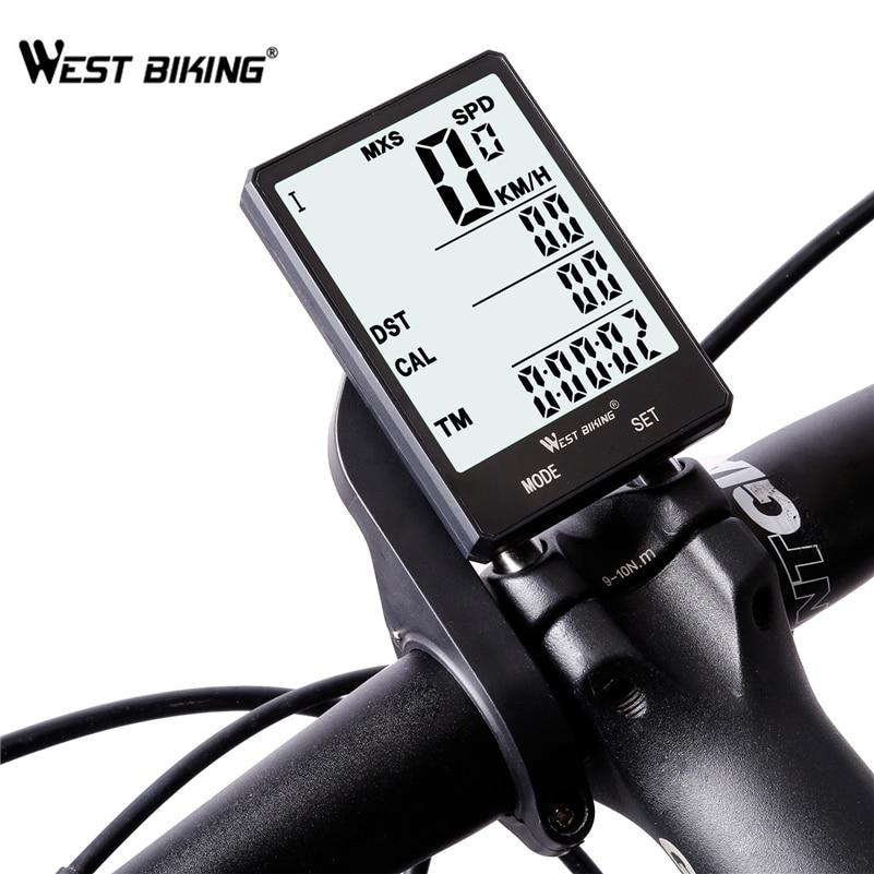 WEST BIKING Waterproof Bicycle Computer With Backlight Wireless Wired Bicycle Computer Bike Speedometer Odometer Bike Stopwatch