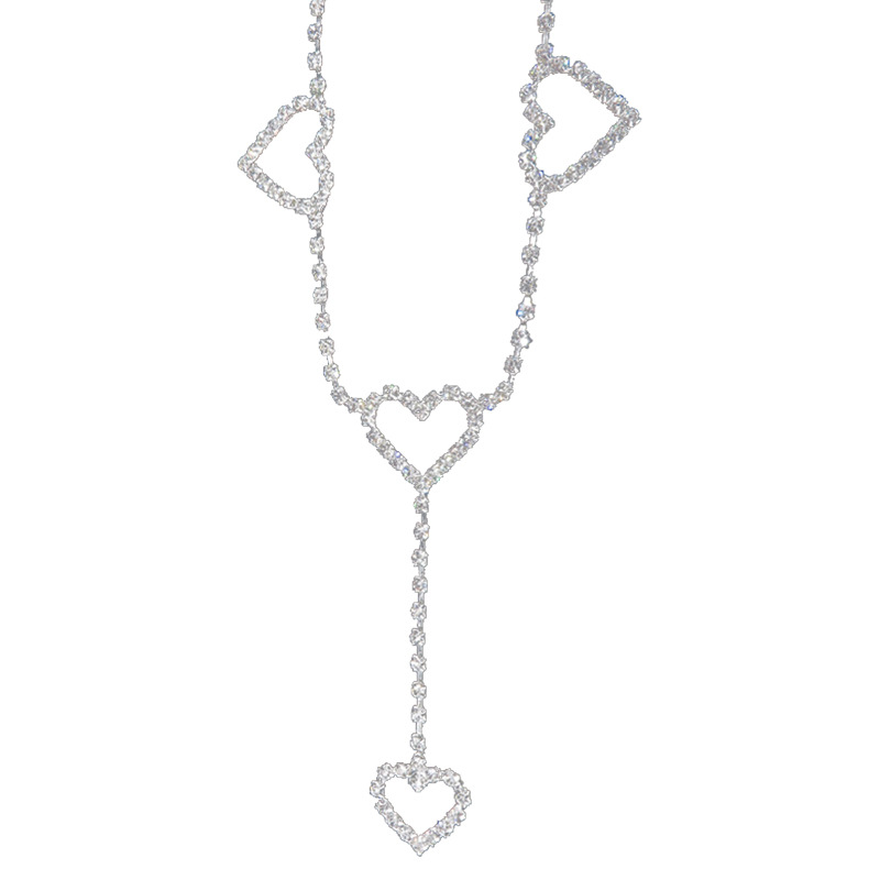 2020 Trendy New 90s Vintage Flash Drill Heart Waist Chain Cute Bling Bling Night Club Disco Belt Rhinestone Heart to Heart Belts