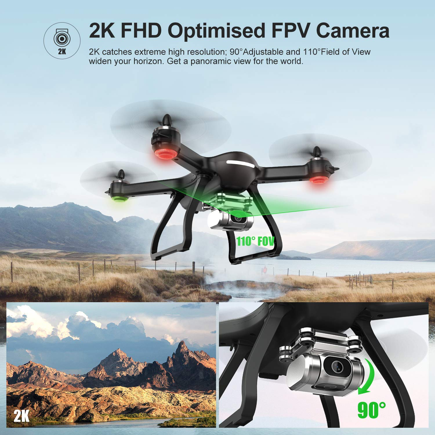 Professional Drone-2K FHD Camera-WI-Fi FPV Live Video-GPS-5GHz RC Quadcopter-9