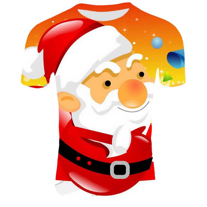 Camisetas divertidas de Navidad para hombre, camisetas impresas de Papá Noel, camisetas casuales en 3d, camiseta de fiesta de muñeco de nieve, ropa de manga corta