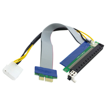 PCI-E Express Cable Adapter 1x to 16x Extension Flex Extender Converter Riser Card with 4pin Power 20cm 10pcs/lot