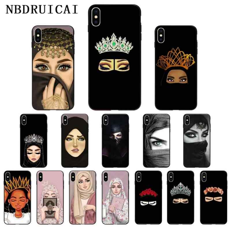 NBDRUICAI Ottwn ערבית חיג 'אב ילדה מלכת כתר סיליקון טלפון Case כיסוי עבור iPhone 11 פרו XS מקסימום 8 7 6 6S בתוספת X 5 5S SE XR מקרה