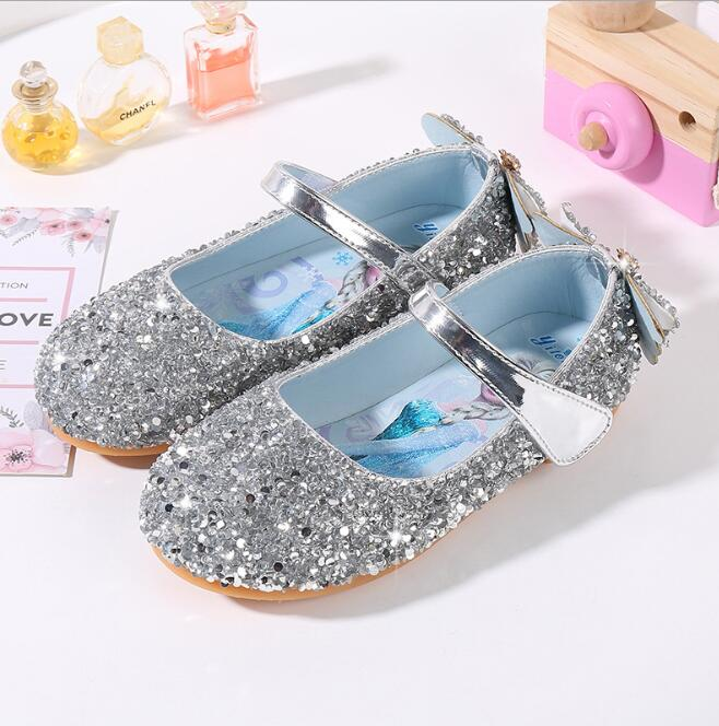 Girls Princess Shoes New Cartoon Printed Elsa Children Shoes PU Leather Kids Party Shoes Soft Soles Size 23-36