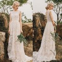 2019 berta Lace A Line Boho Bohemia Wedding Dresses A Line Custom Made Sweep Train Long Bridal Gowns Backless Plus Size
