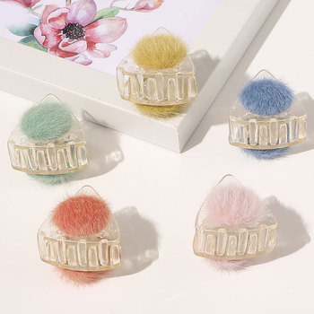 Triangle Sweet Hairball Transparent Hair Clamps Plastic Hair Clip Mini Hair Claws Hairpin Furry Cat Ears Women Hair Accessories image
